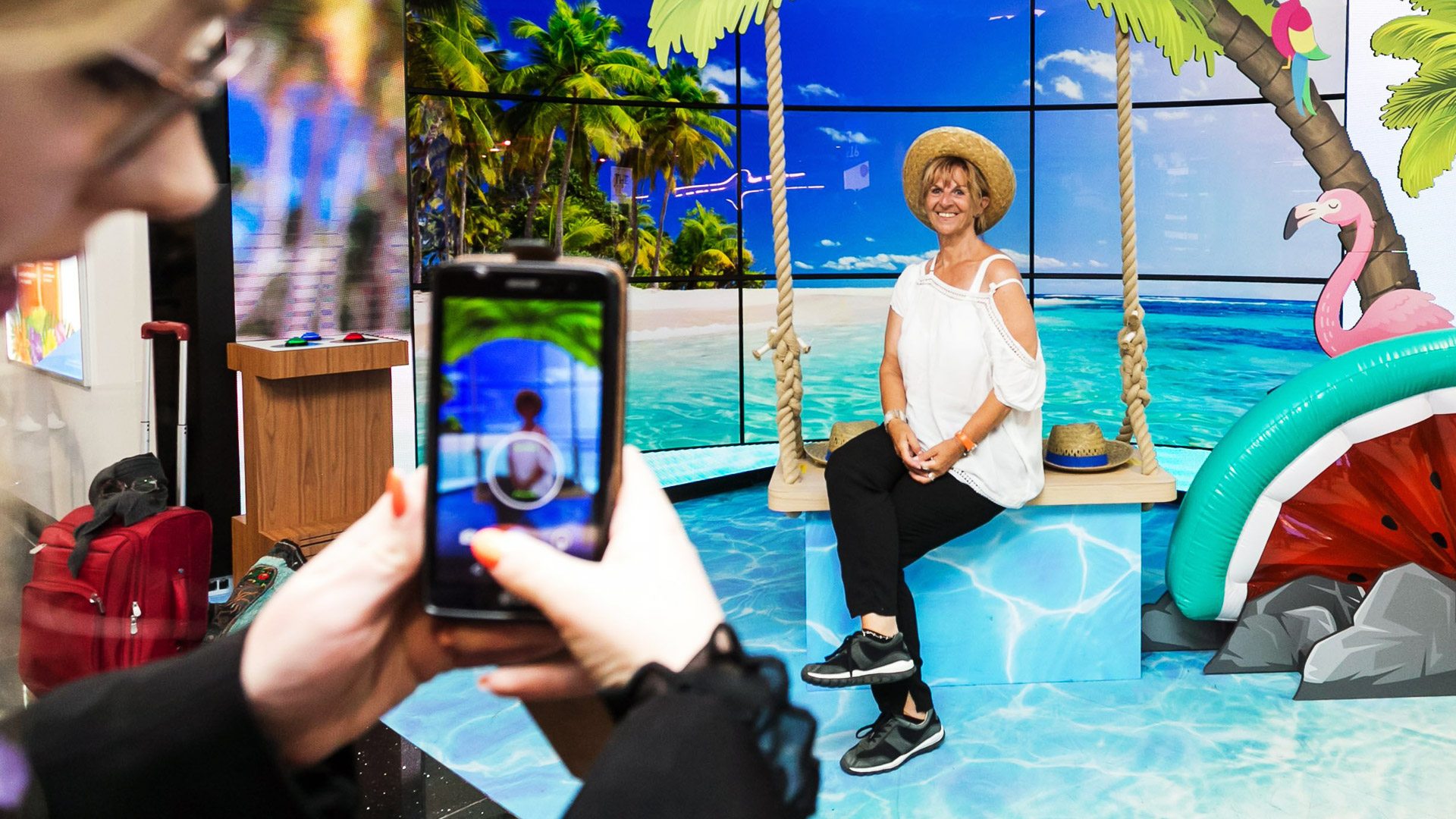 The Aloha Summer experience allowed customers to take a themed holiday selfie. At the touch of a button, customers selected from a range of digital backgrounds with accompanying soundscape, ready to pose for their selfie.    Blynk designed and implemented all the interactive elements, digital content, and sound scaping. Aloha was a great example of utilising and enhancing existing digital infrastructure to deliver an unforgettable experience.